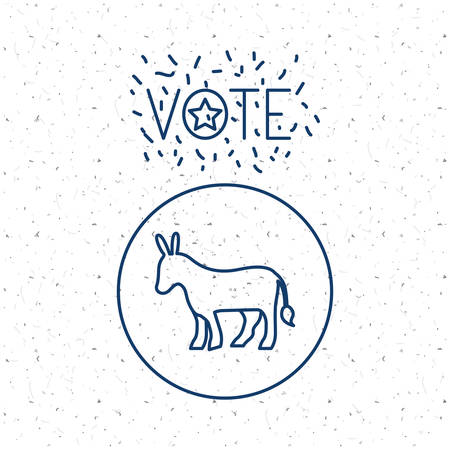 conscientious: donkey inside circle icon. Vote election nation and government theme. Silhouette design. Vector illustration Illustration