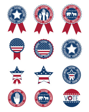 presidental: Usa flag hand and stars inside buttons and seal stamps icon set. Vote election nation and government theme. Colorful design. Vector illustration