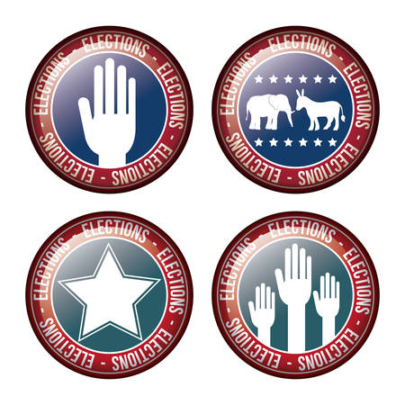 presidental: star hand donkey and elephant inside button icon. Vote election nation and government theme. Colorful design. Vector illustration