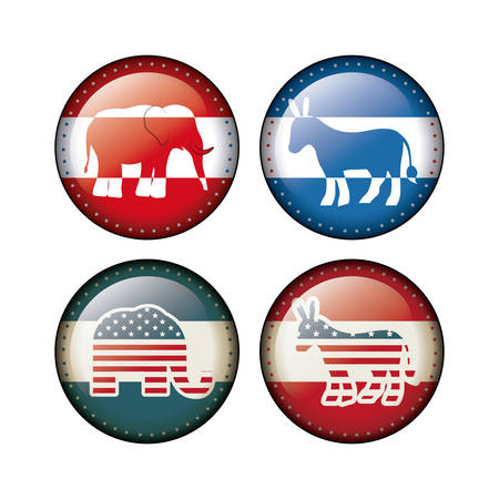 presidental: Elephant and donkey inside buttons icon. Vote election nation and government theme. Silhouette design. Vector illustration