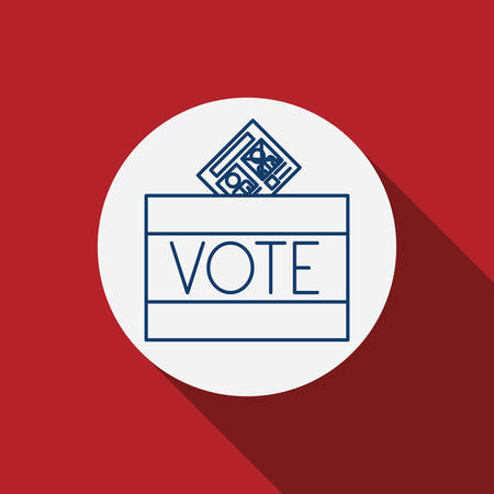 presidental: Card paper icon. Vote election nation and government theme. Red background. Vector illustration Illustration
