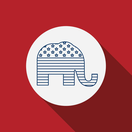 presidental: Elephant inside circle icon. Vote election nation and government theme. Silhouette design. Vector illustration Illustration