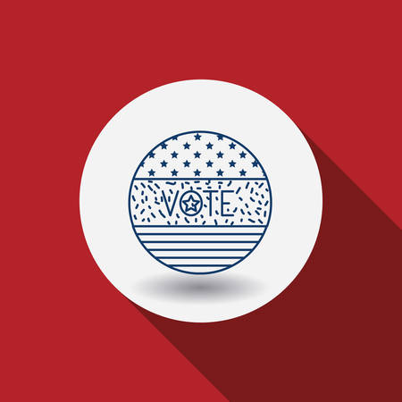conscientious: Flag circle icon. Vote election nation and government theme. Red background. Vector illustration Illustration