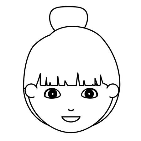 kid portrait: Girl cartoon face icon. Kid child little and people theme. Isolated design. Vector illustration