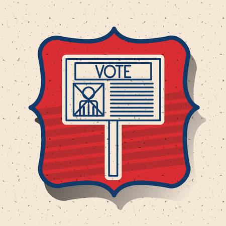 conscientious: Card inside frame icon. Vote election nation and government theme. Silhouette design. Vector illustration