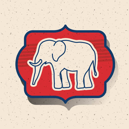 presidental: Elephant inside frame icon. Vote election nation and government theme. Silhouette design. Vector illustration