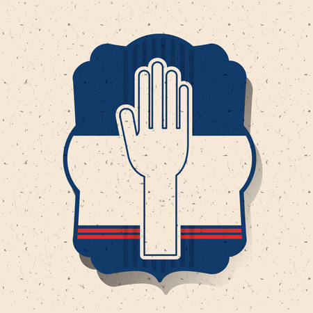 conscientious: Human hand inside frame icon. Vote election nation and government theme. Silhouette design. Vector illustration Illustration