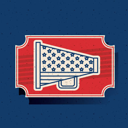presidental: Megaphone inside frame icon. Vote election nation and government theme. Silhouette design. Vector illustration