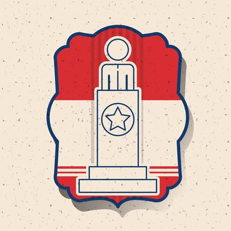 presidental: President inside frame icon. Vote election nation and government theme. Silhouette design. Vector illustration Illustration