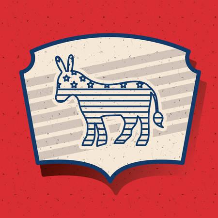 presidental: donkey inside frame icon. Vote election nation and government theme. Silhouette design. Vector illustration Illustration