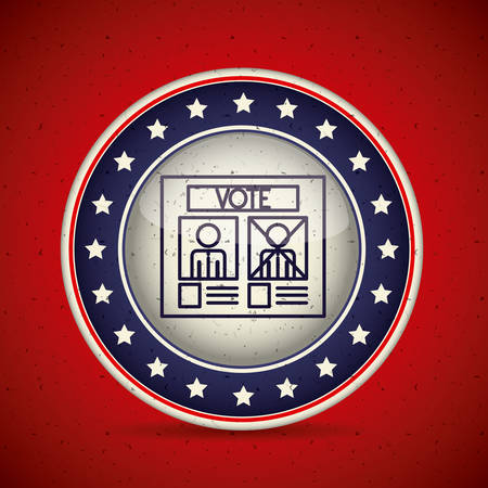conscientious: Card inside button icon. Vote election nation and government theme. Silhouette design. Vector illustration