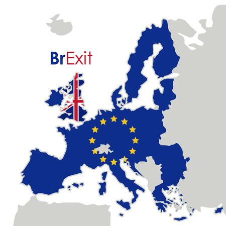 Eruropean ユニオン アイコンの Brexit。ヨーロッパの国家と政府のテーマ。カラフルなデザイン。ベクトル図