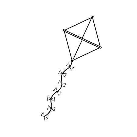mage: silhouette kite in triangular shape vector illustration