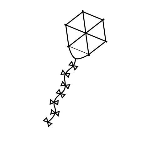 paper kites: silhouette kite hexagon shape flying vector illustration