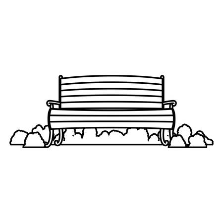 shrubs: wooden chair with shrubs fence silhouette with wooden boards vector illustration