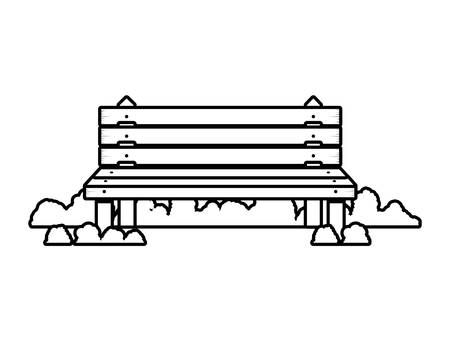 shrubs: wooden chair in park with shrubs vector illustration Illustration