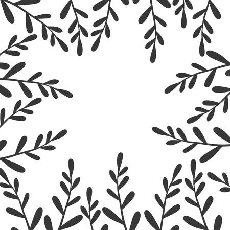border with black branches and leaves vector illustration Vettoriali