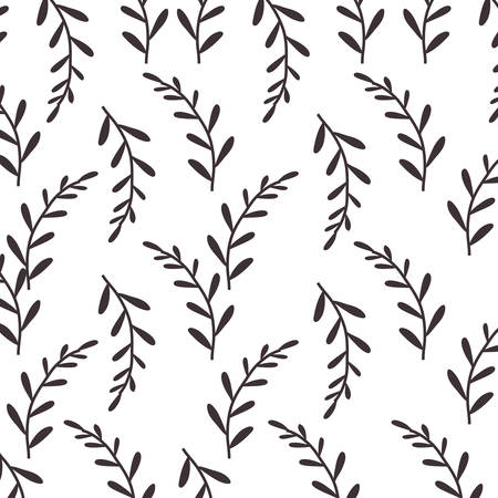 few: pattern silhouette stems with few leaves vector illustration