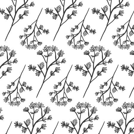 ramification: pattern plant with ramifications and flowers vector illustration