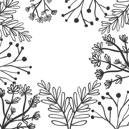 flowered: frame with a variety of plants vector illustration