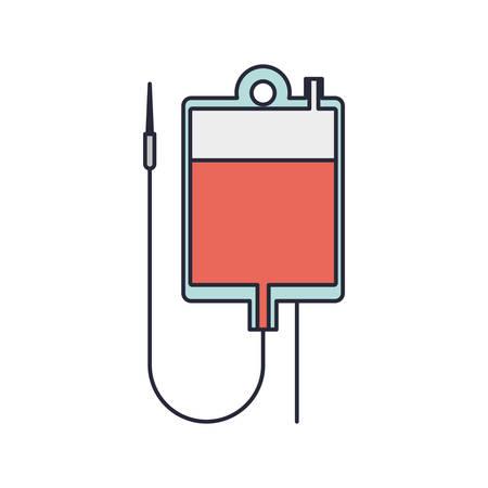 transfuse: hanging bag for blood donation vector illustration Illustration