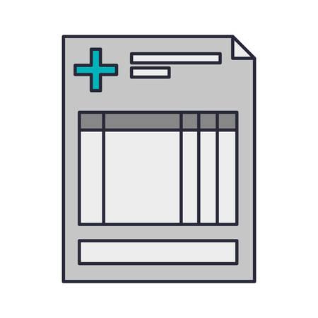 historia clinica: clínica hoja de antecedentes con la ilustración vectorial cruz Vectores