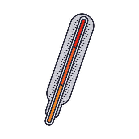 thermometer with temperature scale in colors vector illustration Illustration