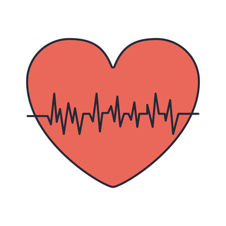 vibration: red heart with signs of life vector illustration