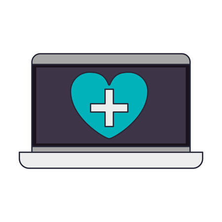 display: laptop with heart on display vector illustration