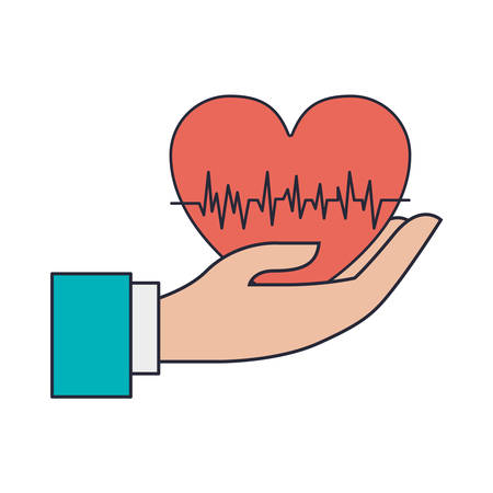 hand holding red heart with signs of life vector illustration