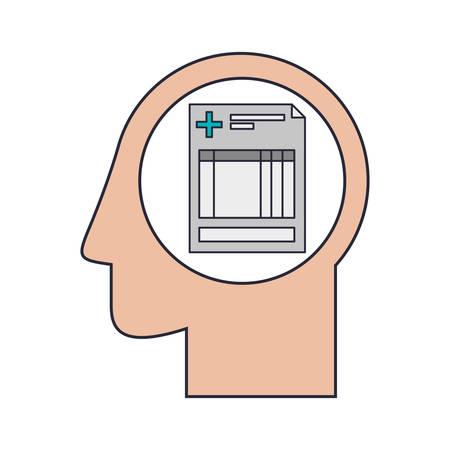 historia clinica: humana Silueta de la cabeza con la hoja de la historia clínica de la ilustración del vector