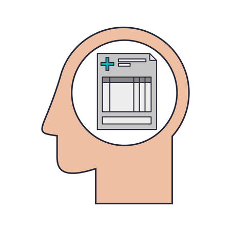 historia clinica: Silhouette head human with history sheet clinic vector illustration Vectores