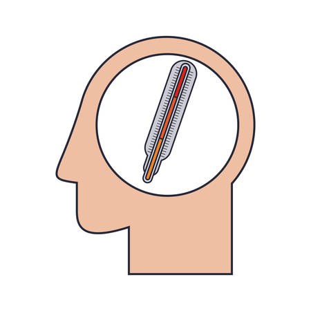 profile measurement: Silhouette head human with thermometer vector illustration