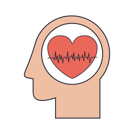 heart beats: Silhouette head human with red heart beats vector illustration