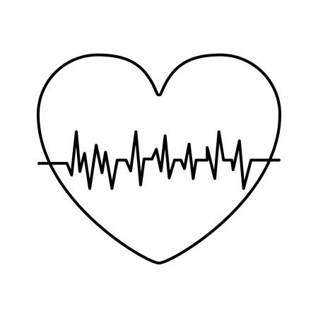 pulsation: silhouette heart with signs of life vector illustration