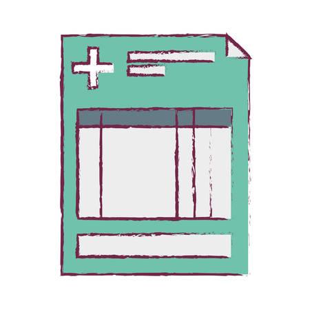 historia clinica: clínica de la historia borrosa con la ilustración vectorial cruz