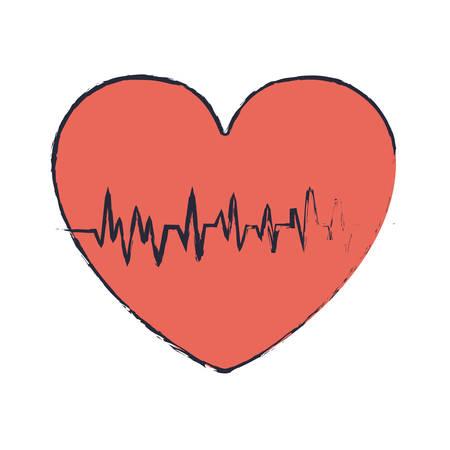 blur red heart with signs of life vector illustration Ilustração