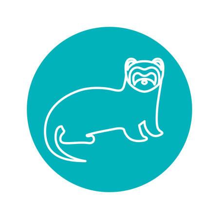 circle shape: Circle shape with nutria wild animal illustration
