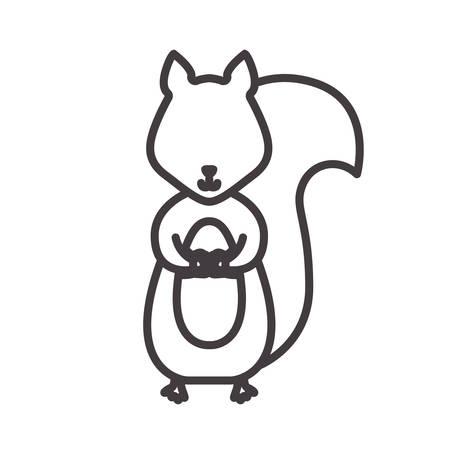 ardilla: Silueta de ardilla con la ilustración de animales salvajes