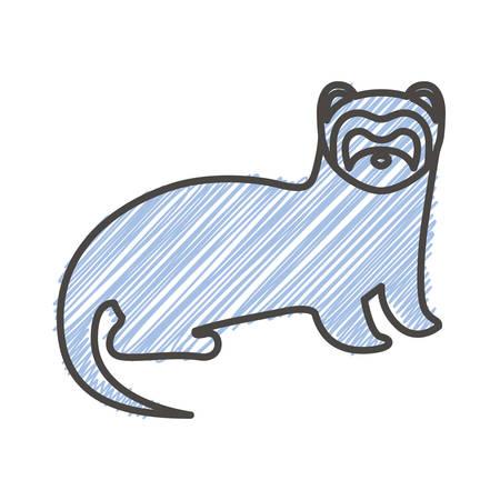 silhouette with nutria wild animal stripes illustration Illustration