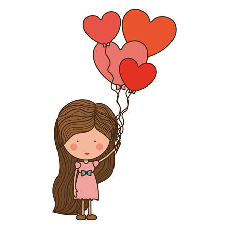 woman with heart shaped balloons illustration