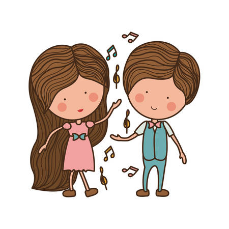 couple dancing with musical notes illustration