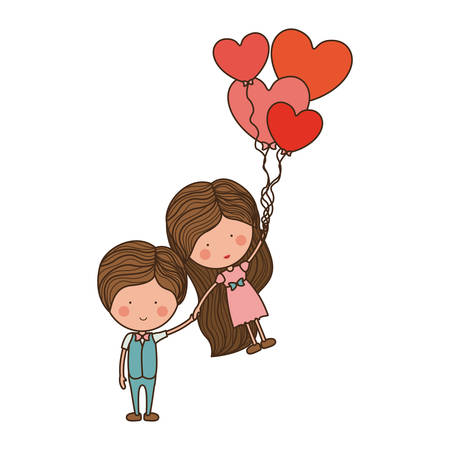 heartshaped: man holding girl floating with heart-shaped balloons illustration