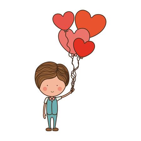 man with heart shaped balloons illustration Illustration