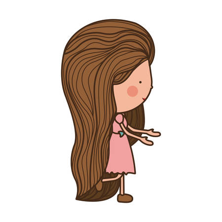eyesclosed: girl walking with brown long hair illustration