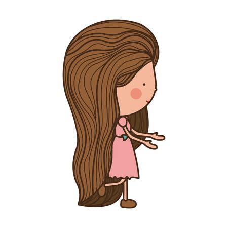 girl walking with brown long hair illustration