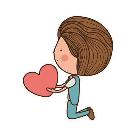 long hair boy: boy kneeling and giving heart illustration