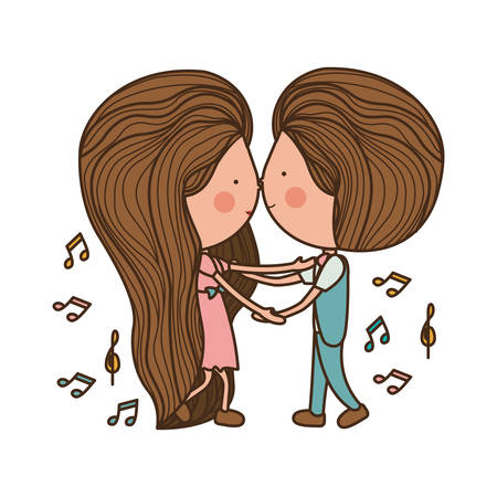 couple dancing with musical notes around illustration