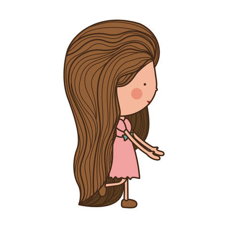 eyesclosed: girl walking with pink dress and shoes illustration Illustration