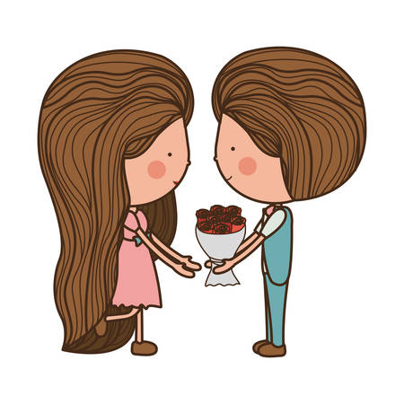 couple holding bouquet with striped hair illustration Illustration